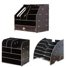 Xrhyy рабочего стола деревянный ящик для хранения канцелярских принадлежностей отделки стеллаж для хранения билетная касса держатель для документов мульти-Слои полка для файла A4 данных книжная полка