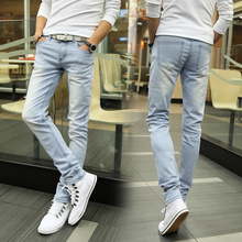 цена на Jeans Men Streetwear Trousers Slim Fit Casual Pants Skinny Straight Clothes Classic Mens Jeans Elasticity Pant Modis Denim Jeans