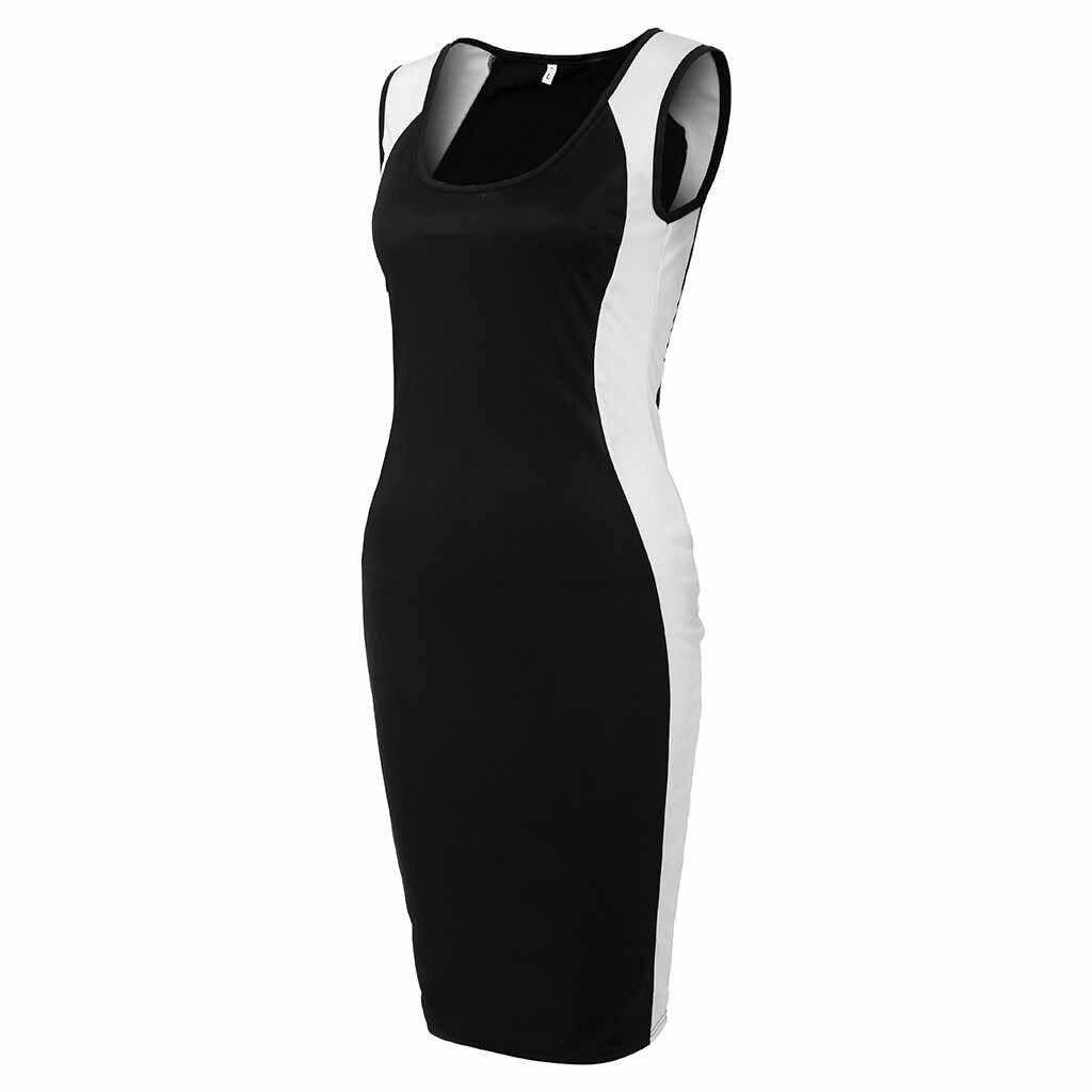 女性黒と白のストライプタイトフィットビッグコードドレスセクシーな V ネックノースリーブパーティードレスエレガントな女性ボディコンドレス