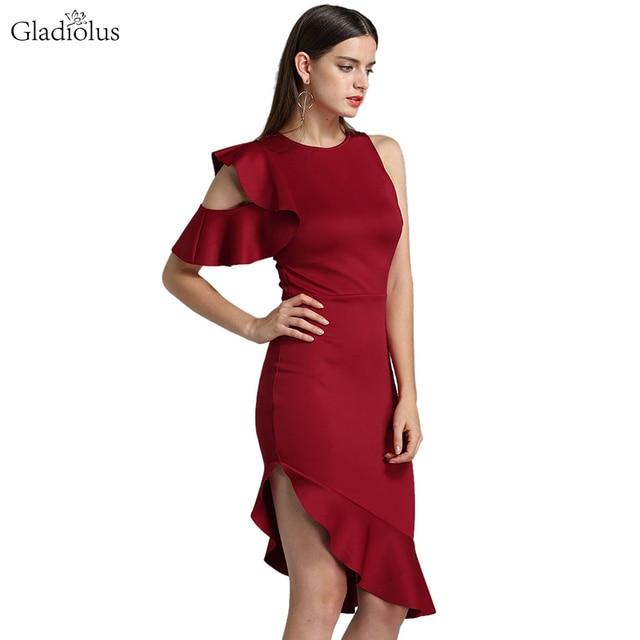 95293edf8e3 Gladiolus One Shoulder Sexy Women Summer Dress 2018 Ruffles Red Black  Bodycon Midi Mermaid Dress Elegant Evening Party Dresses
