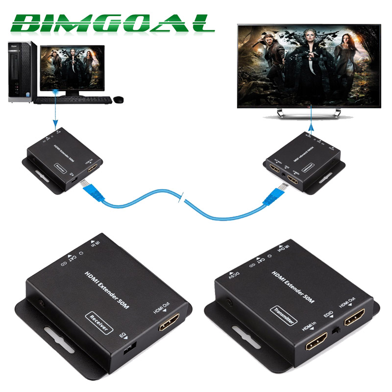 HDV E50C 50m HDMI Extender HD 1080P Over Single CAT5E CAT6 for DVD Blu ray Players