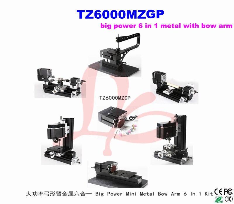 Big Power Mini Metal Bow Arm  machine 6 In 1 Kit TZ6000MZGP, wood-turning lathe, mini wood lathe 6 in 1 mini lathe milling drilling wood turning jag saw