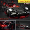 Новый технический черный Porsche Супер гоночный приспособление для автомобиля Technic speed модель автомобиля строительные наборы блоки кирпичи иг...