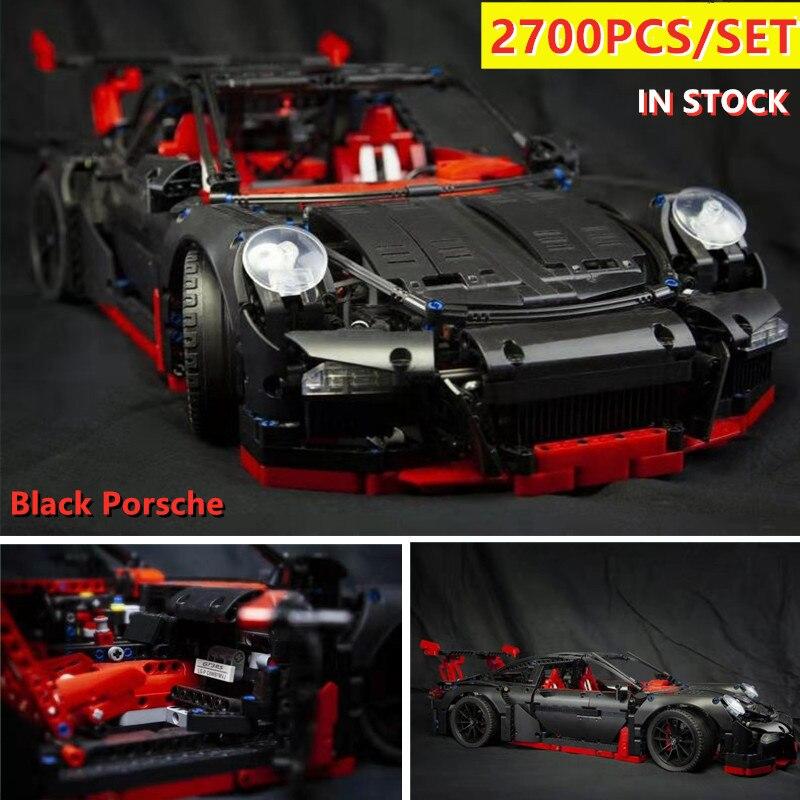 Nouvelle technique noir Porsche Super voiture de course fit technique vitesse voiture modèle kits de construction blocs briques jouets garçons cadeau d'anniversaire