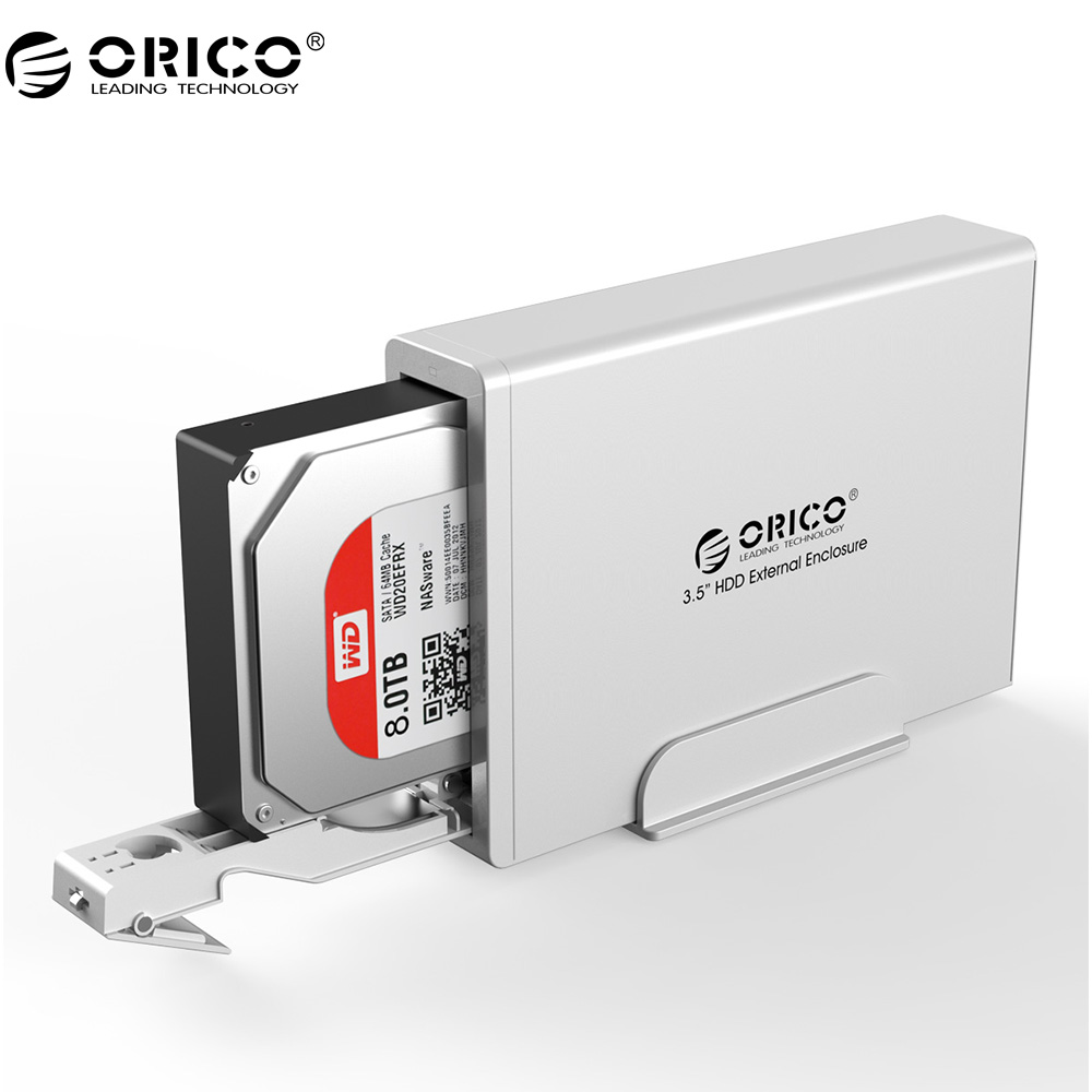 ORICO 7618US3 Aluminum 3.5 inch SATA2.0 USB3.0 External Hard Drive Enclosure Support 8TB Capacity with Safety Lock -Sliver кабели orico кабель microusb orico adc 10