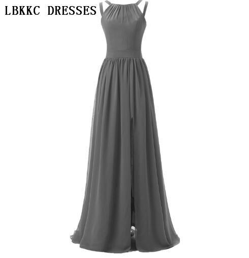 Scoop Elegant Simple Floor Length Backless Long Grey   Prom     Dresses   Women Vestido Baile Rochii De Seara ,PD114