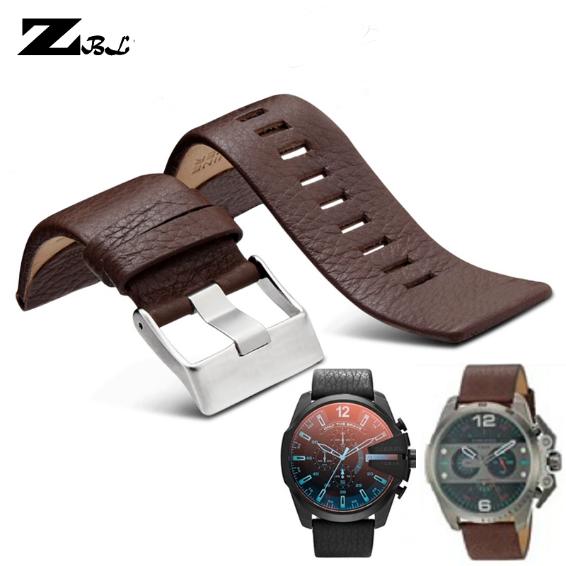 Bracelet en cuir véritable bracelet 22 24 26 27 28 30mm grain de Litchi pour bracelet de montre diesel doux confortable DZ4386 montre bracelet