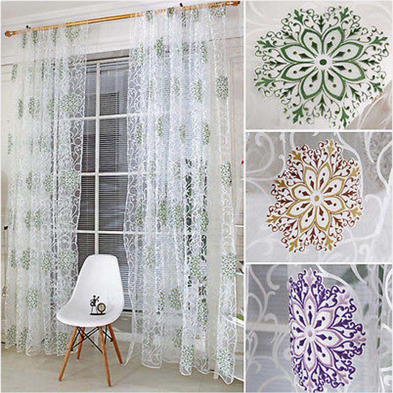 european style floral embroidery voile curtains tulle door window curtain sheer panel valances home living room bedroom decor - Valances For Living Room