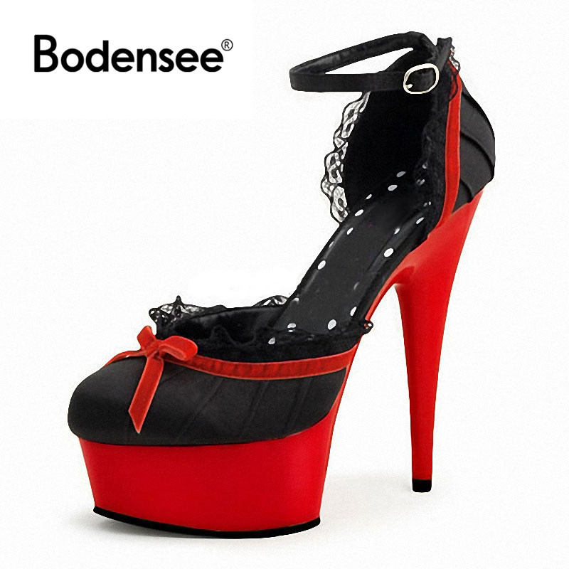 Bodensee 2017women Crystal Ankle Strap Bling Metal Decoration shoes woman pointed toe Thin Heels women's Buckle pumps high heels цена