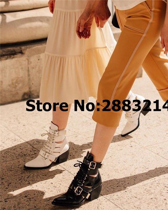 최고 품질 여성 속이 빈 봄 가을 발목 부츠 여자 레이스 라운드 발가락 럭셔리 스타일 짧은 부츠 신발 botas mujer-에서앵클 부츠부터 신발 의  그룹 1