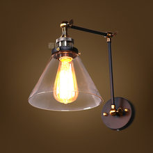 Loft Vintage Industrial Edison Wall lamps Clear Glass Wall Sconce Warehouse Wall Light Fixtures E27 110V/220V Bedside Lighting(China)