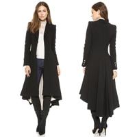 Women Coats Autumn winter swallowtail Black long Trench Dovetail Plus Size 5XL 6XL Wool Trench jacket Outwear winter coat women