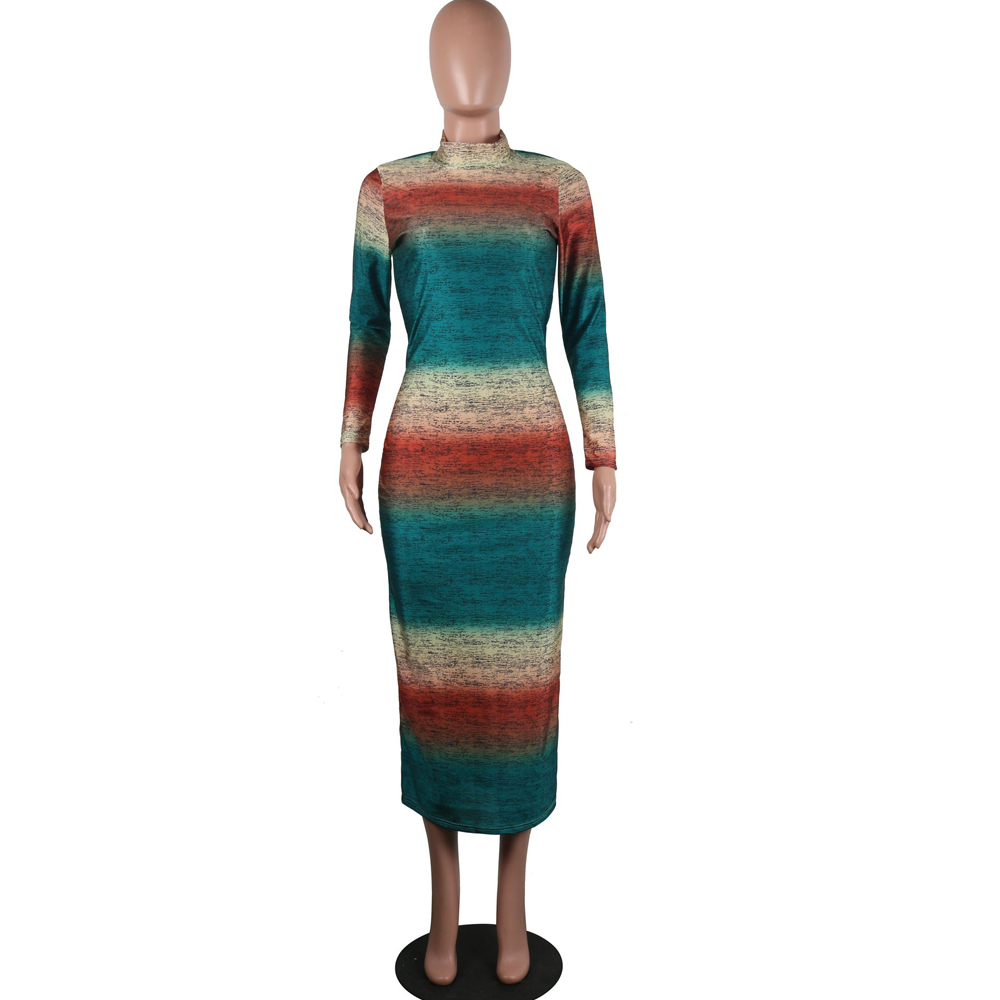 Women Pencil Dress Colorful Print Stand Neck Long Sleeve Slim Dresses Elegant Lady Fashion High Street Dress Vestidos in Dresses from Women 39 s Clothing