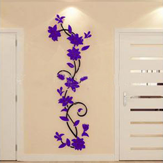 Didihou Vine Wall Stickers Home Decor Large Paper Flowers Living Room Bedroom Wall Decor Sticker On Wallpaper Diy Home Decals
