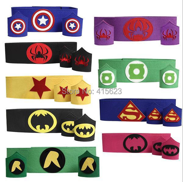 Cos Superhero Belt Cuff armband wristband waistband adult kid batman Hulk superman wonderwoman spiderman costume Halloween party