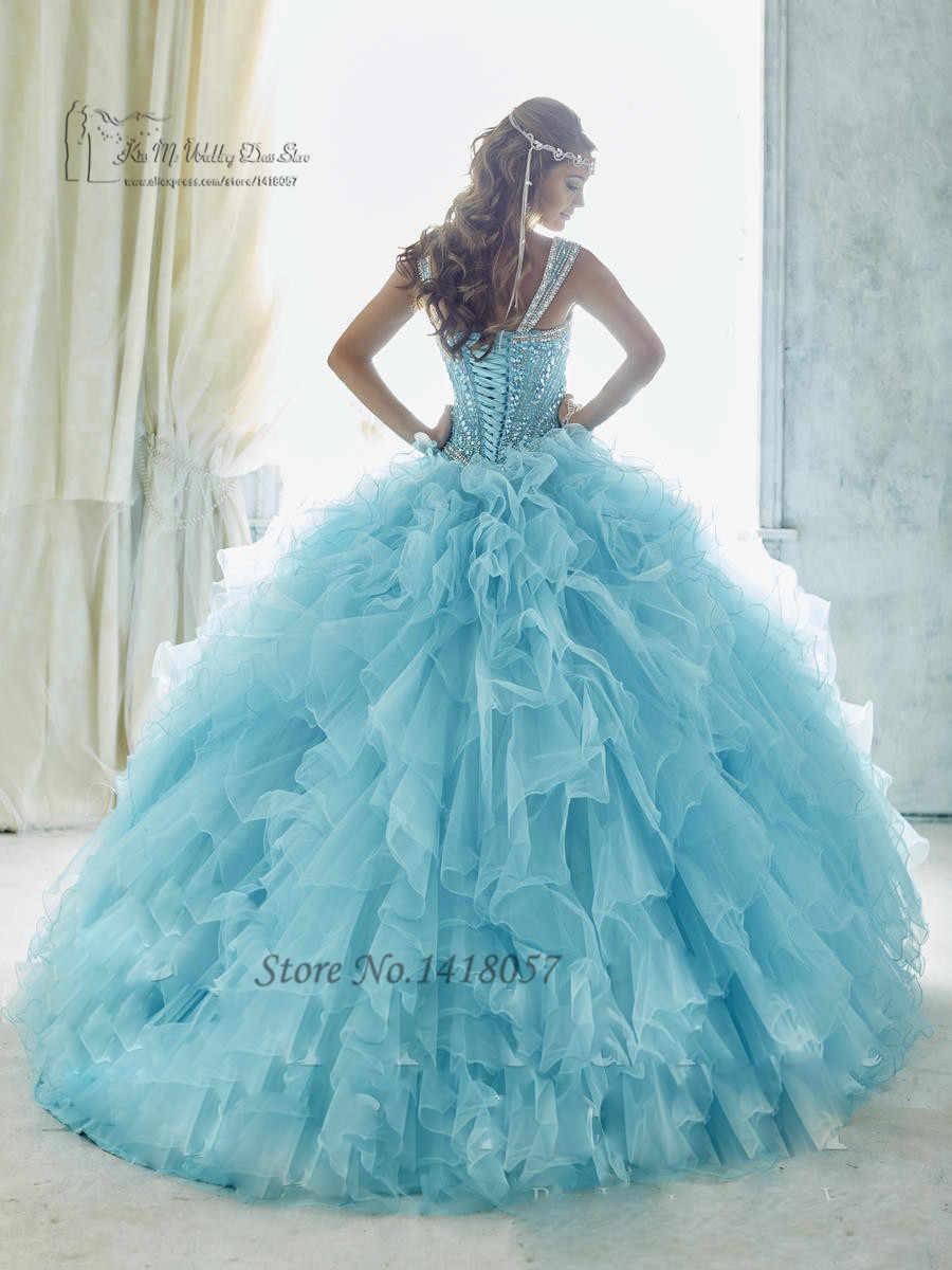 bd81d6386 ... Baby Blue Luxury Turquoise Quinceanera Dresses 2017 Vestidos de 15 Anos  Sweet 16 Dresses Ball Gowns ...