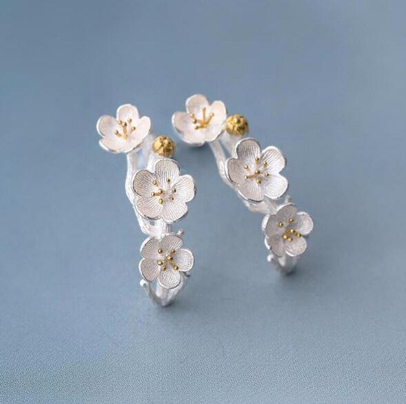 925 Sterling Silver Cherry Blossom Plum Fashion Ear Jewelry Branch Flowers Stud Earrings For Women Joyas De S-E117