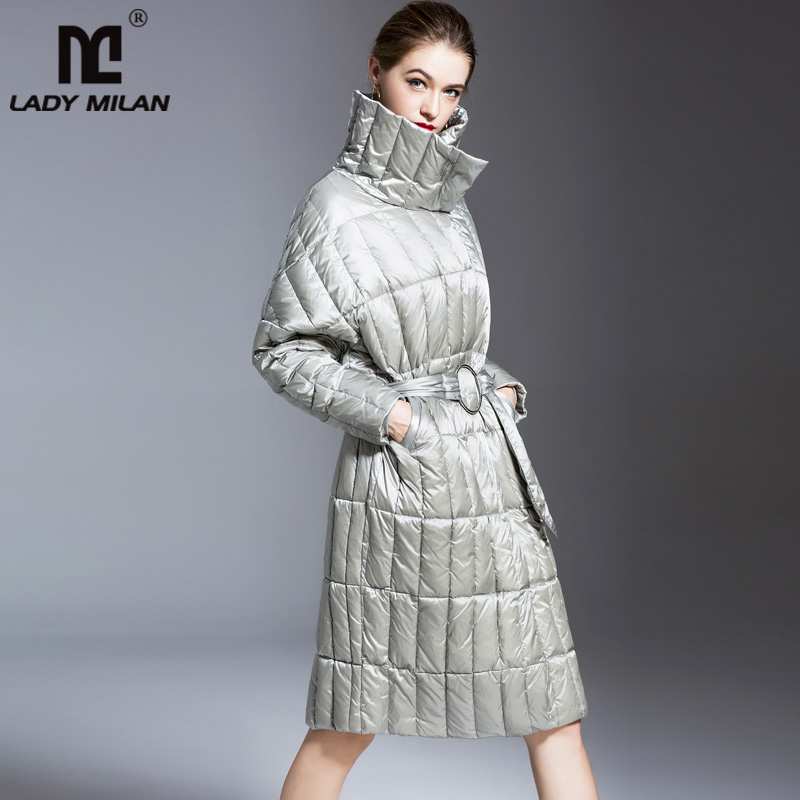 New Arrival Women's Autumn Winter Runway   Down     Coats   Stand Collar Long Sleeves White Duck   Down   Sash Belt Elegant Outerwear   Coats