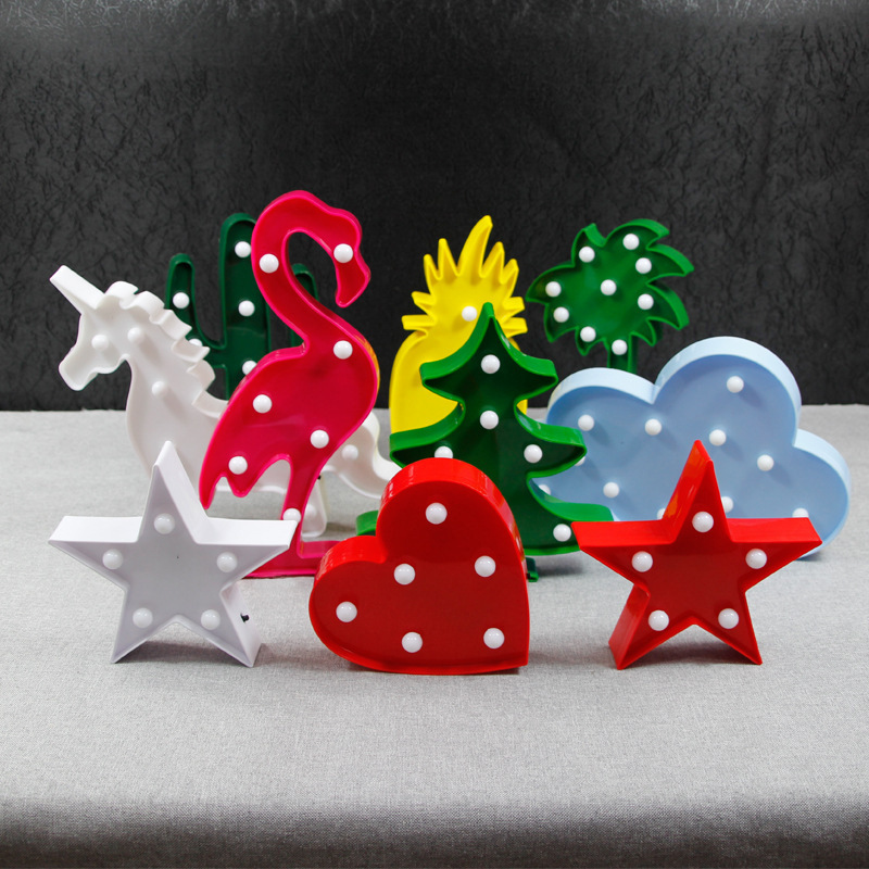 LED Table Night Light Marquee Unicorn Star Heart Flamingo Pineapple Christmas Coconut Tree Home Party Decoration 3D Desk Lamp