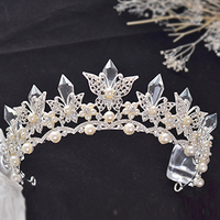 Baroque Design Crystal Rhinestone Bridal Wedding Tiara Crown Pageant Prom Pearl Butterfly Hair Accessories For Bride