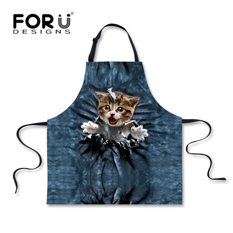 FORUDESIGNS Fashion Animals Denim Cat Print Apron Novelty Funny Aprons for Women Kawaii Men Kitchen Cooking BBQ Party Apron