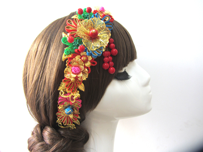 Hair Comb Bride Wedding  Hanfu Costume Xiu He Fu Wedding Use Hair Jewelry 03 red gold bride wedding hair tiaras ancient chinese empress hat bride hair piece