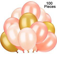 METABLE 100 Pieces 12 inch Latex Balloons for Wedding Festival Party Decoration Supplies,(champage,rose gold,light yellow)