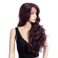 Aigemei боковой части парики длинные волнистые синтетические Синтетические волосы на кружеве парик высокой температуры волокна Для женщин па