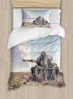 Military Duvet Cover Set American Camouflage Tank of the Cold War Historical Facts Battle Artwork Picture 4 Piece Bedding Set