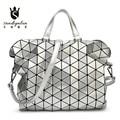 Famous Brand Women Gloss BAOBAO Bag Geometry Package Sequins Saser Plain Folding Handbags PU Shoulder Bags Casual Tote