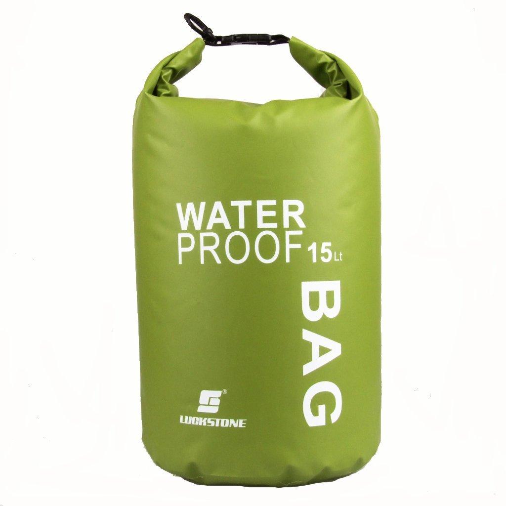 LUCKSTONE Waterproof Bag Pouch for Camping Kayak Fishing Rafting Canoe-kayak 15L Green