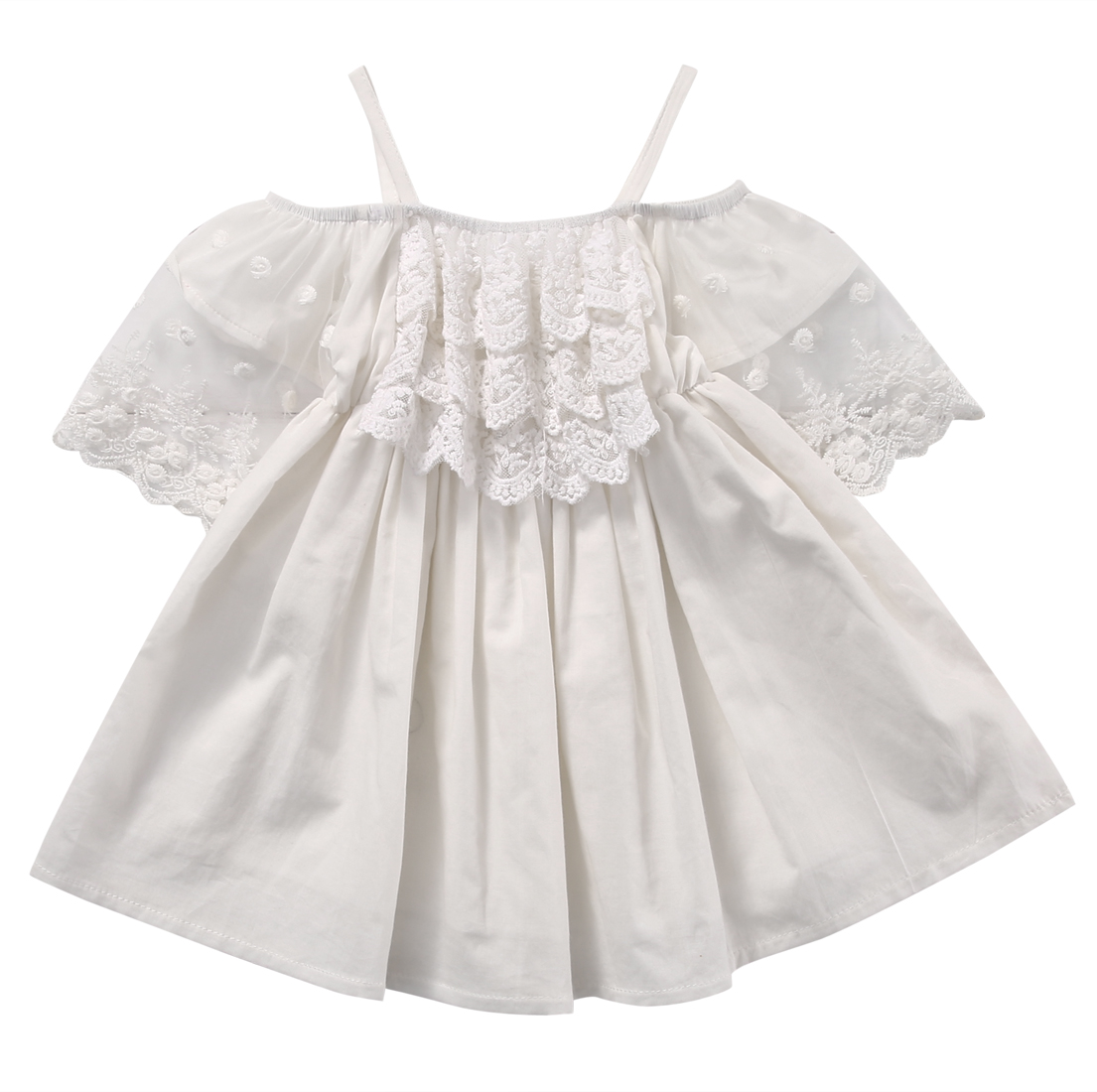 2017 New Cute Fashion Toddler Kids Girls Summer Dress Off-shoulder Ruffles Lace Dresses Solid White Princess Costume 2-7Y ems dhl free shipping toddler little girl s 2017 princess ruffles layers sleeveless lace dress summer style suspender