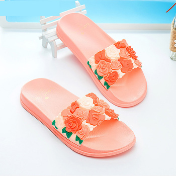 Cute Women Slippers Summer Slides Rose Lovely Flowers Home Slippers Thick Soled Sandals Women Shoes Flip Flops Zapatillas Mujer 1