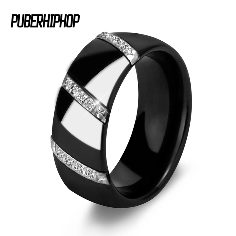 лучшая цена 2017 New Engagement Rings For Women 3 Row Lines Clear Crystal Jewelry Fashion Stainless Steel Ceramic Rings Brand Design