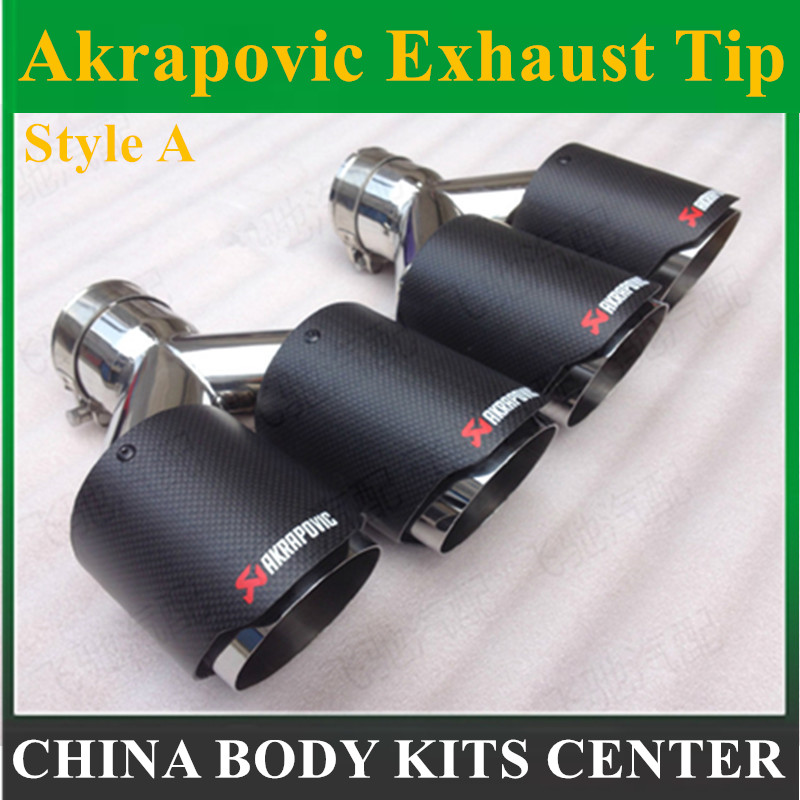 63mm/101mm Dual Carbon fiber + stainless steel universal Auto akrapovic exhaust tip Double end pipe for bmw benz vw golf car styling one pair id 60mm od 101mm akrapovic carbon fiber exhaust tip muffler end pipes for bmw vw golf 7 mazda accessories