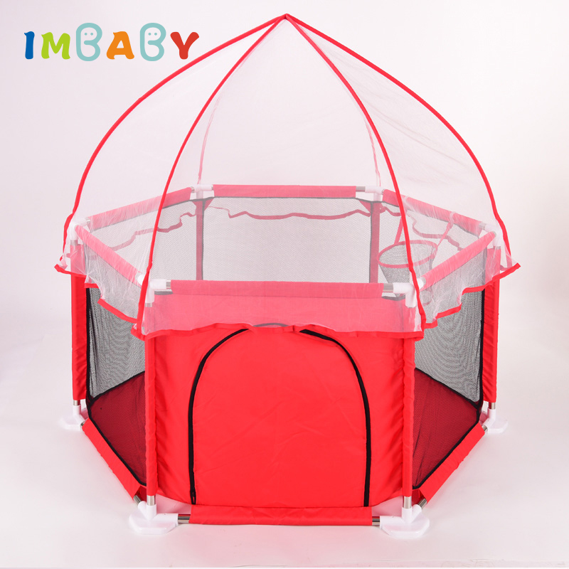 IMBABY Playpen for Children Playpen Kids with Tent Basket Pool Balls large Baby Playpen Ball Pool