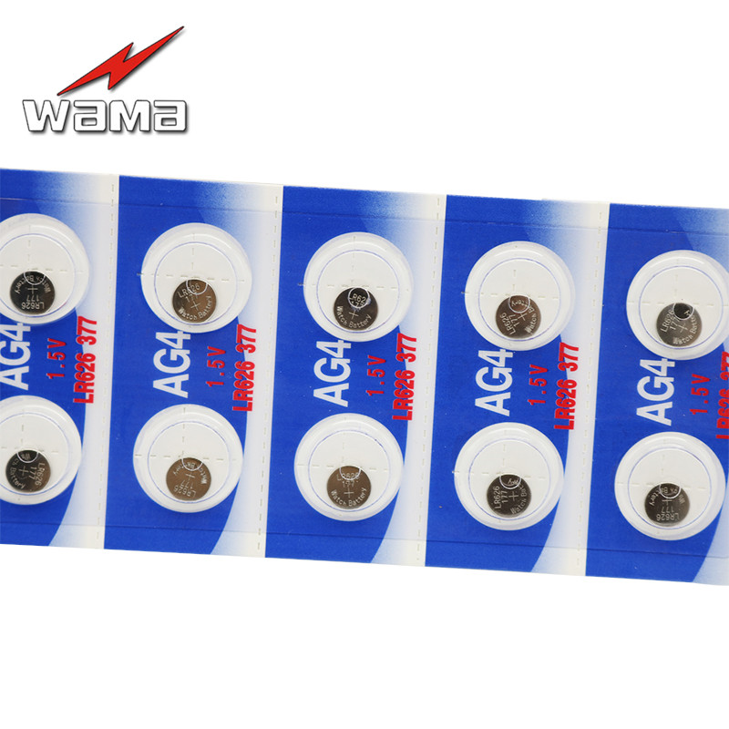 200pcs lot Wama AG4 Button Cell Coin Battery SR626 LR66 177 626 SR66 377 LR626 1 5V Alkaline Batteries Disposable Drop ship in Button Cell Batteries from Consumer Electronics