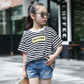 2017 Summer Kids Girls Clothes Children Clothing Fashion Striped Short Sleeve O-neck Causal T shirt Girl T-shirt Age 3-15Y