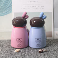 Cartoon Rabbit Thermos Mug With Rope Stainless Steel Vacuum Flask Student Creative Water Cup Portable Bottle