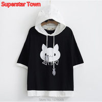 Harajuku Style Female T Shirt Summer Autumn Short Sleeve Hooded Shirt Kawaii Cat with Fish Student Girls Casual Tops Tee