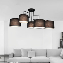 American country style cloth ceiling lamp with fabric lampshade white/black Chandelier for dinning living room bedroom lighting
