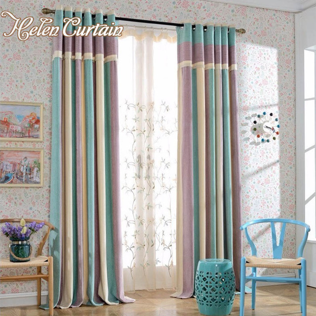 Helen Curtain Modern Splice Thick Chenille Strip Curtains For Living Room  Ready Made Curtain For Bedroom Part 63