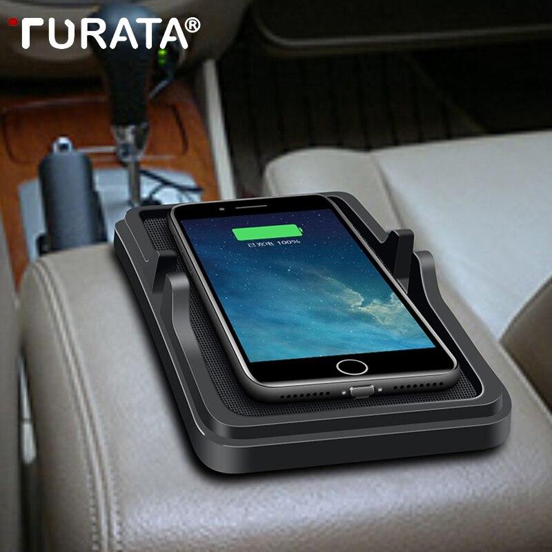 TURATA צ 'י אלחוטי מטען לרכב Pad עבור iPhone 8 10 X בתוספת Samsung S6 S7 S8 קצה Stand 5 V /2A טעינת Dock נייד טלפון בעל