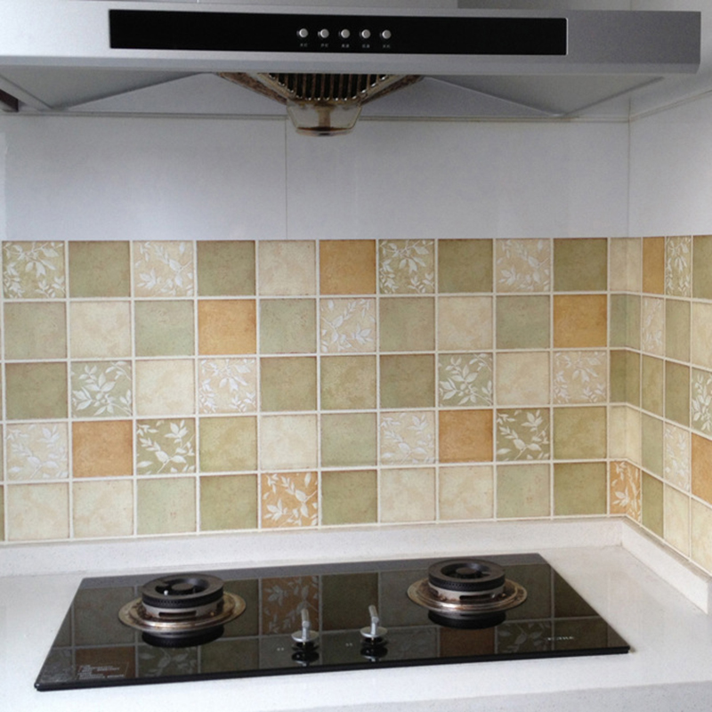 amazing How To Clean Kitchen Tiles Walls #8: Kitchen clean household decorative wall stickers Anti-oil waterproof self-adhesive wallpaper wallpaper the