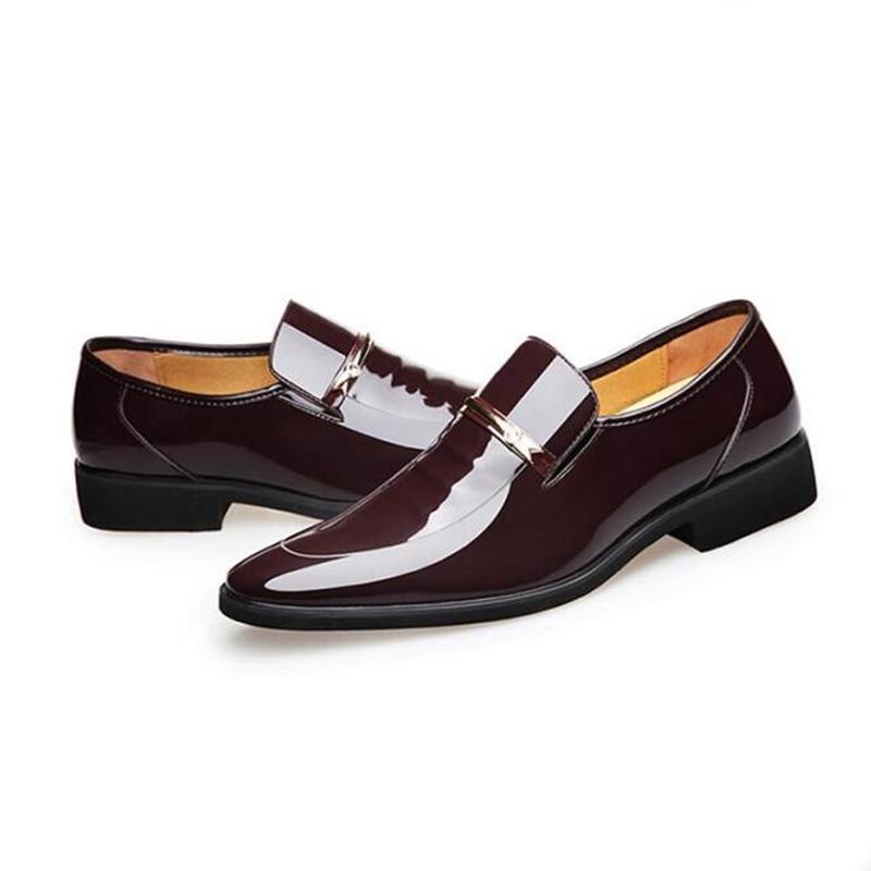 Sapatos Dedo Couro Se Moda Casamento Black Homens Pontas Da Vestem Casuais Patente Pé De Do Homem Dos Marca Oxfords Formal brown Luxo r7xaqvrB