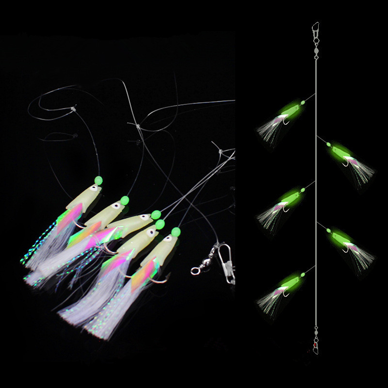 5 bags/lot 5 hooks High Quality Carbon Steel Feathers Bass Cod Lure Sea Fishing Luminous FishHooks Treble Bait Fishing Wire