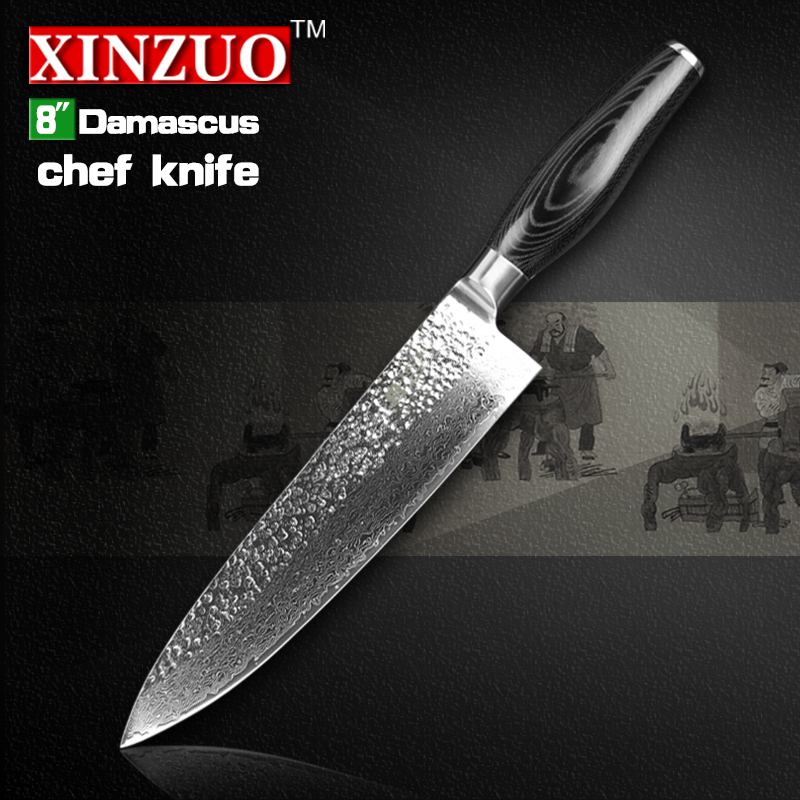 HIGH QUALITY XINZUO 8 inch chef font b knife b font Japanese Damascus kitchen font b