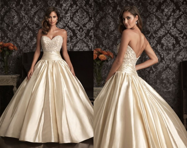 2015 New White Ivory Champagne Empire A Line Wedding Dress