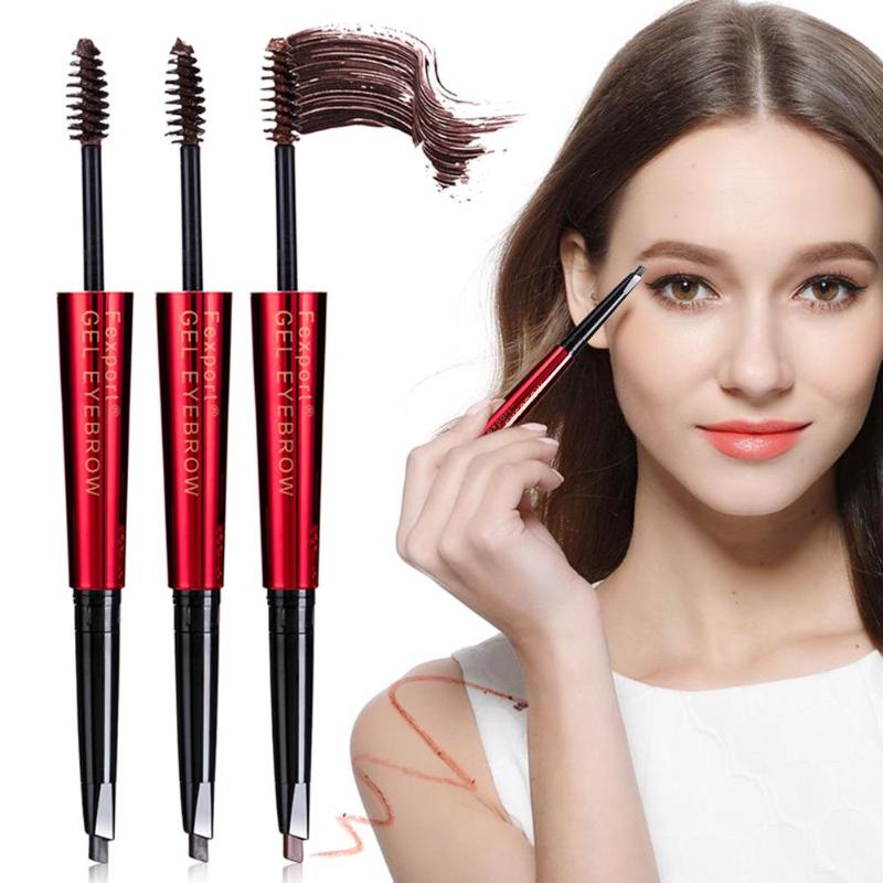 Fexport Double-end Automatic Eyebrow Pencils Waterproof Long Lasting Brown Pigments Eyebrow Tattoo Makeup Eye Brow Pen Cosmetic