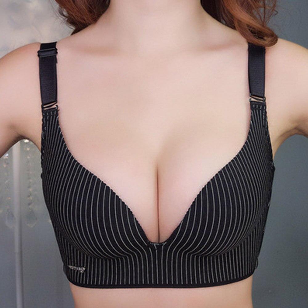 Femmes Push Up soutien-gorge sans couture rassembler sans fil dames Sexy rayure Lingerie grande taille Bralette Bh Top 30-40 A B C D tasse